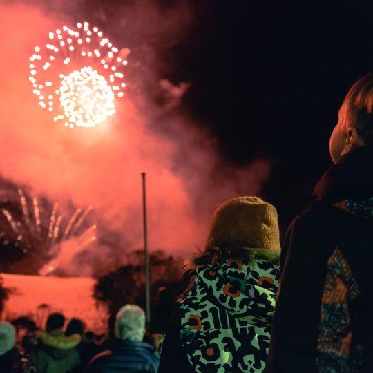 Kids watching fireworks at Thredbo